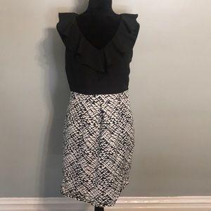 Merona Ruffle Pencil Dress with pattern skirt